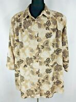 Maggie Barnes Womens Short Sleeve 28W Blouse Button Up Floral Polyester Tan Blac