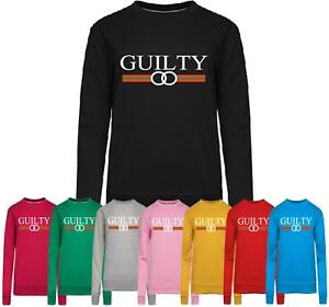Womens Ladies Guilty  Print Sweatshirt Slouch Hoodie Pullover Tops Jumper
