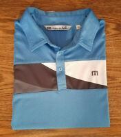 Travis Mathew Men's Golf Polo Shirt Size Large Blue Gray Carmel Valley Ranch