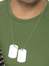 Mens Ladies Silver Army Dog Tags Necklace Fancy Dress Costume Outfit Accessory