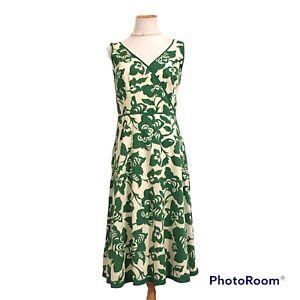 BODEN Beige Green Floral Sleeveless Lined Knee Length Cotton Sun Tea Dress 12