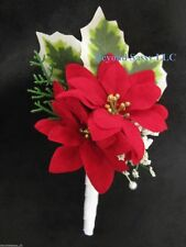 Holiday Christmas Red White Poinsettia Silk Flower Wedding Boutonniere Groomsmen
