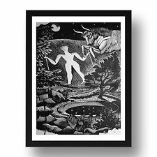 "Hill Man by Eric Ravilious, 8x6"" Black Frame"