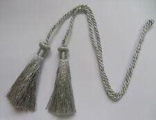 2 Pieces(4 tassels )Metallic Silver + Grey Curtain TieBack Tassel Fringe w/cords
