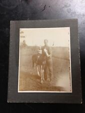 Vintage Cabinet Photo Child On Horse And Man Circa 1910 ND 5x6