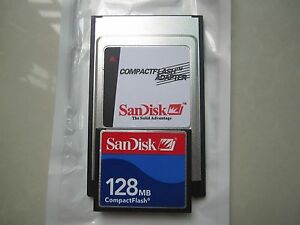 SANDISK 128MB Compact Flash +ATA PC card PCMCIA Adapter JANOME Machines