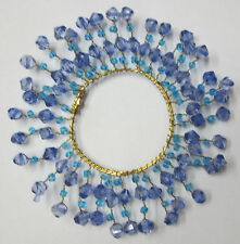 11cm Decorative Beaded Candle Ring Metal & Wired Bead In 2 Shades of Blue Beads