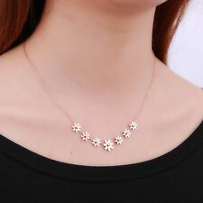 Women Rose Gold Stainless Steel Flower Choker Necklace Clavicle Chain Jewelry