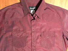 Burgundy WRANGLER Retro Mens Western Cowboy Pearl Snap LS Button Down Shirt L