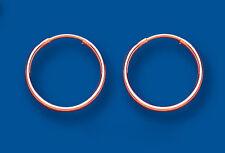Oro Rosa Orecchini A Cerchio Peso Medio Cerchi 14mm