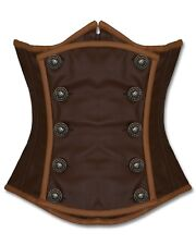 Brown Real Pure Leather Corset Steel Bones Under bust Lace Up Back 2XS~7XL