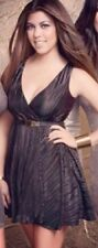 Kim Kardashian Kollection Dress Black Gold Metallic Party Fit And Flare XS NEW
