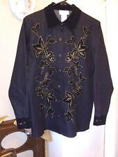 Victor Costa Occasion Black Denim Velvet/ Beaded Trim Snap Buttons Jacket Size S