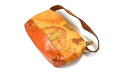 Authentic Alviero Martini 1st Prima Classe world map brown small pouch bag VGC