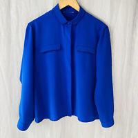 *VINTAGE* Royal Blue Double Pocket SIZE 12 UK Long Sleeve Blouse V1