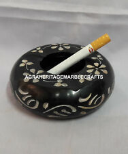 Marble Black Ashtray Cigar Cigarette Hand Carved Art Hallway Decor Gift H4309