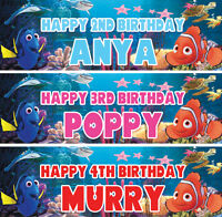 2 x Personalized Finding Nemo Birthday Banner Nursery Children Party decoration