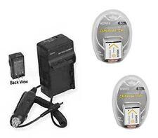 TWO 2 Batteries + Charger for Sony DSCW330L DSCW330R DSC-W330L DSCW350B DSCW350L