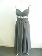 Chiffon A Line Sweetheart Floor Length Prom Dress Dark Grey SIZE 14 BOX84 15 B