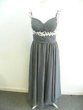chiffon a line sweetheart floor length prom dress dark grey UK SIZE 14 BOX8413 B