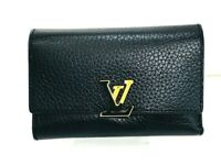 Auth Louis Vuitton Wallet Capucines BLACK -PINK 57117603 f6651