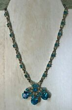 Vintage Bogoff Rhinestone Necklace with Rhodium Backing-Aqua and Clear Stones