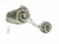 NEW Ladies SILVER SLAVE RING BRACELET CLEAR/AB RHINESTONES ROSE SWIRL& RING
