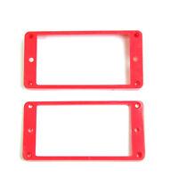 Set of 2 Humbucker Pickup Mounting Rings bridge/neck ,Curved bottom ,Red