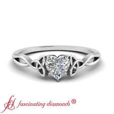 Half Carat Heart Diamond Split Shank Irish Engagement Ring In 18K White Gold VS2