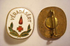 Hungary Hungarian Badge Red Cross Blood Donor pin brass