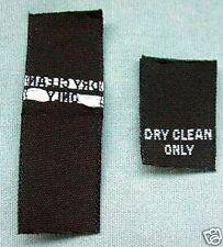 LOT 100 WOVEN LABELS, SIZE TAGS DRY CLEAN ONLY BLACK