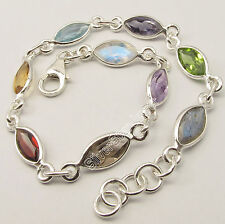 .925 Pure Silver COLORFUL Facetted Marquise Stones ASTONISHING Bracelet 7.9""
