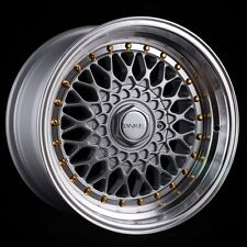 """DARE DR RS ALLOYS STAGGERED 16"""" 4X100/108 8J 9J SILVER GOLD RIVETS VW BMW E30"""