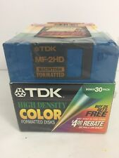 TDK MF-2HD Formatted Macintosh 3.5 Disk New Colored 30 Pack