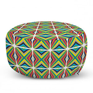 Ambesonne Absurd Pattern Ottoman Pouf Decor Soft Foot Rest & Removable Cover