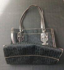 """Etienne Aigner 11"""" Black Leather Canvas Signature Logo Shoulder Bag Handbag"""