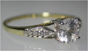 Brilliant-cut Solitaire Ring UK- O Diamond simulant 9ct Gold Quality London HM