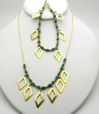 14k Yellow Gold Sparkle Bead Turquoise Drop Fringe Necklace Bracelet Set 17.1 gr