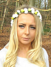 Yellow White Rose Flower Garland Headband Hair Crown Bridesmaid Boho Small 2055