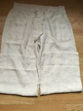 Marks&Spencer Flax Linen Ladies Trousers Size 14 Short Drawstrings summer/Spring