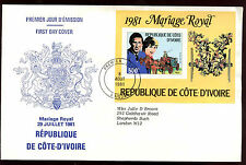 Ivory Coast 1981 Royal Wedding, Princess Diana M/S FDC #C11401