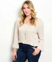 Women Plus Size Nude Hi Low Peasant Top Blouse Shirt Bell Sleeve Casual Relaxed