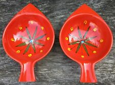 2 Vintage Retro Midcentury Modern Red Fish Shaped Floral Design Italian Bowls