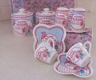 Shabby Butterfly Flower Garden Ceramic Espresso Short Black Cups & Saucers Set