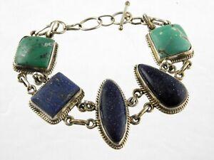 Vintage Sterling Silver Artisan Gemstone Bracelet 925 Goldstone Lapis Howlite