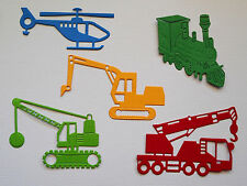 Boys Paper Die Cuts Digger Wrecker Crane Train Helicopter x 2 Sets Scrapbooking