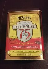 "Used Nestle's Toll House Tin 6 1/4"" Celebrating 75 Years Semi-Sweet Morsels"