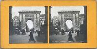 Parigi Porta Saint-Denis Foto Pl36 Stereo Vintage Analogica c1900