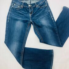 Daytrip Womens Jeans 26R Blue Mila Boot Cut Med Wash Whiskers Bold Stitch