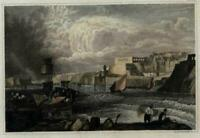 Malta La Valetta harbor view c.1850 Grunewald engraved print lovely hand color